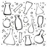 集合医疗瓶和烧瓶 向量例证