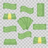 集合另外钞票金钱 堆积票据,财务堆现金-平的传染媒介例证 在a的货币对象 库存例证