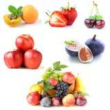 集合各种各样的莓果和果子 免版税库存照片