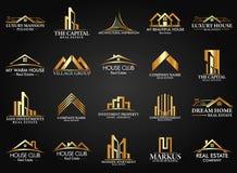 集合和小组房地产、大厦和建筑商标传染媒介设计 免版税库存照片