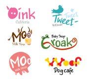 集合商店商标和滑稽的动物象征  免版税图库摄影