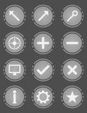 集合圆的传染媒介灰色象 免版税库存图片