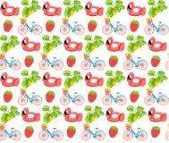 集合夏天印刷品样式自行车草莓平的设计夏令时平的设计火鸟五颜六色的印刷品郁金香食物桃红色水池tropi 库存例证