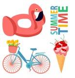 集合夏天自行车冰淇淋平的设计夏令时平的设计火鸟樱桃五颜六色的印刷品郁金香食物桃红色水池 皇族释放例证