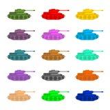 集合多彩多姿的坦克 在白色背景的军用设备, 免版税图库摄影