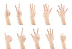 集合女性的手势做数字 免版税库存图片