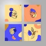 集合妇女的面孔最小的线型 连续的一条线摘要传染媒介女性画象和叶子monstera 向量例证