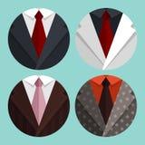 集合平的企业夹克和领带 库存例证