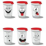 集合微笑的塑料杯子 库存例证