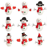 集合愉快的雪人被隔绝 免版税库存照片