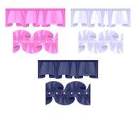 集合或褶边边界 五颜六色的皱纹刷子 向量例证