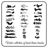 集合手工制造装饰纹理掠过装饰的墨水 图库摄影