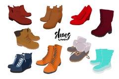 集合手拉的五颜六色的人和妇女鞋类的例证在等量样式 偶然的鞋子和体育样式 库存图片