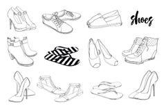 集合手拉的图表男人和妇女鞋类,鞋子的例证 偶然和体育样式,侦探 鹿皮鞋 库存图片