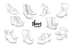 集合手拉的图表男人和妇女鞋类,鞋子的例证 偶然和体育样式,侦探 鹿皮鞋 图库摄影