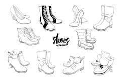 集合手拉的图表男人和妇女鞋类,鞋子的例证 偶然和体育样式,侦探 鹿皮鞋 向量例证