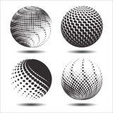 集合抽象中间影调3D spheres_22 免版税库存照片