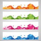 集合抽象水彩背景 免版税库存照片