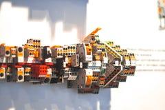 集合控制电子工厂线路面板切换 库存照片
