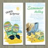 集合旅行五颜六色的热带设计 S的手拉的邀请 库存图片