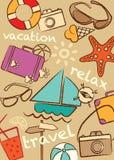集合旅行和假期,例证 库存图片