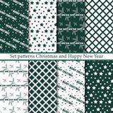 集合无缝的样式圣诞快乐和新年快乐 库存例证