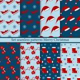 集合无缝的样式圣诞快乐 库存例证