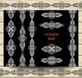 集合无缝的边界鞋带丝带装饰元素白色在黑色 免版税库存图片