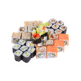 集合日语滚动与三文鱼、虾和黄瓜 库存照片