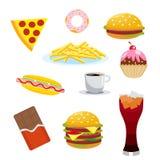 集合有害的食物 巧克力和可乐、汉堡包和热狗、炸薯条和蛋糕、咖啡和薄饼 向量 皇族释放例证