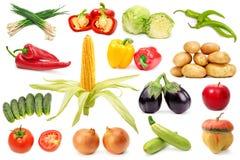 集合有用的在白色项目的隔绝的水果和蔬菜 免版税库存图片
