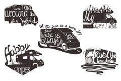 集合有行情的字法有蓬卡车的例证的可印 与阵营旅行的葡萄酒设计商标象征的 库存图片