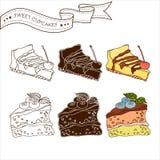 集合杯形蛋糕传染媒介的例证 库存照片