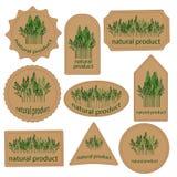 集合标记自然产品 库存图片