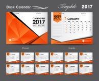 集合橙色桌面日历2017年模板设计,盖子桌面日历 库存例证