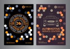 集合汽车服务中心企业布局模板 A5, A4汽车修理店小册子模板,汽车杂志封面 图库摄影