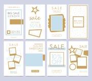 集合流动销售横幅 故事模板是一个强有力的社交 库存照片