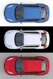 集合浅兰,白色和红色超小型天桥SUV 3d翻译 向量例证