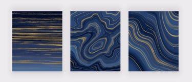 集合液体大理石纹理 蓝色和金黄闪烁墨水绘画摘要样式 墙纸的,飞行物,海报时髦背景, 免版税库存图片
