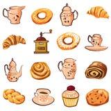 集合烘烤,新月形面包,饼干,磨咖啡器,茶壶,杯子,传染媒介,例证,被隔绝 皇族释放例证