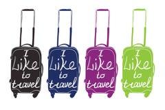 集合现代行李五颜六色的字法,印刷为盖子,加州 向量例证