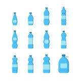 水集合的动画片塑料蓝色瓶 向量 向量例证