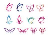 集合符号象设计传染媒介蝴蝶,商标,秀丽,温泉,生活方式,关心,放松,提取,翼 免版税库存图片
