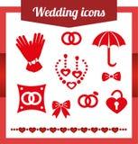 集合红色婚礼象 首饰,耳环,项链 免版税库存图片