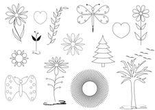 集合花卉和自然题材 免版税库存照片