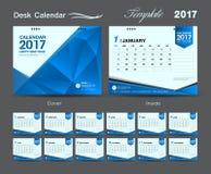 集合蓝色桌面日历2017年模板设计,盖子桌面日历 免版税库存照片