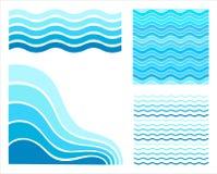 集合蓝色波浪 向量例证