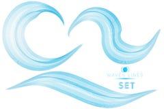集合蓝色混合巨型的波浪浇灌desig的抽象背景 库存照片