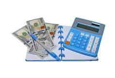 集合计算器,与笔的笔记薄 免版税库存照片