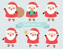 集合逗人喜爱的圣诞老人姿势袋子礼物 免版税库存照片